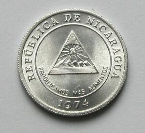 1974 NICARAGUA Aluminum Coin - 5 Centavos - BU UNC - lustre - medal orienatation