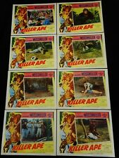KILLER APE 1953 * JOHNNY WEISSMULLER as JUNGLE JIM * COMPLETE LOBBY CARD SET!!