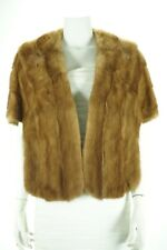 F04371 Real Fur Brown Mink Formal Wedding Women Shawl Stole Cape Coat M