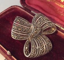 Vintage Jewellery Art Deco Signed Sterling Silver & Marcasite Ribbon Bow Brooch