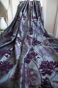 NEXT STEEL BLUE PURPLE VELVET FLOCK FLORAL EYELET CURTAINS,53WX90D,TAFFETA,LINED