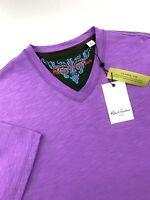 Robert Graham V Neck Short Sleeve T-Shirt Men Purple Classic Fit Mens Size 3XL