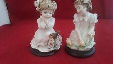 "00006000 Two Vintage Giuseppe Armani Italy Little Girl Sculptures ""Springtime Of Life"" &"