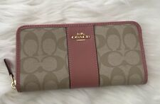 Brand New COACH Accordion Zip Wallet in Signature Canvas F54630 MSRP $285