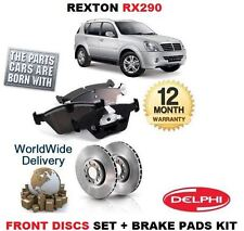 FOR SSANGYONG REXTON RX290 2.9DT 2002-> NEW FRONT BRAKE DISCS SET + DISC PAD KIT