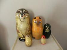Russian nesting dolls 5 nesting cats - artist signed