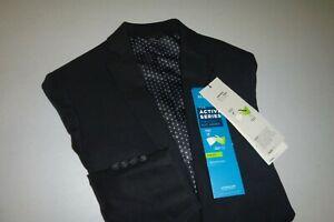 haggar mens SLIM Black stretch two button sports coat blazer suit jacket - 36S