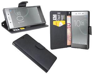 Book-Style Handy Hülle Etui Tasche in Schwarz für Sony Xperia XZ PREMIUM @COFI
