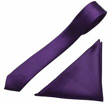 Mens Neck Tie and Pocket Square Handkerchief Set Hanky Wedding Skinny