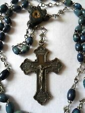 """Vtg Blue Wooden Beads CHAPLET Rosary Prayer CRUCIFIX Cross 7 SORROWS of MARY 28"""""""