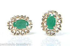 9ct Gold Emerald Stud Earrings Gift Boxed studs Made in UK