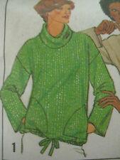 Vintage Drawstring Casing Waist Cowl Neck Shirt Sewing Pattern Women Simplicity