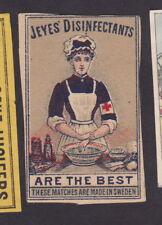 Ancienne  étiquette  allumettes Suède  BN27941 Désinfectant Infirmière