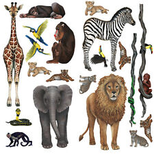 Wandsticker Dschungel Tiere Regenwald Komplettset Walls of the Wild Löwe Zebra