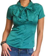 Mujer Lazo Blusa camisa manga corta talla 10 12 14 16 18 20