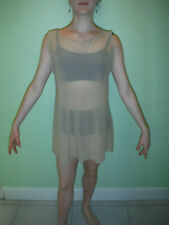 mesh see through illusion stretchy costume girls beige