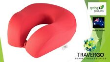 U Shaped Travel neck pillow- Memory foam Red cloth great for Plane Train Car