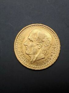 1945 2.5 Pesos Dos Y Medio Pesos Mexico Gold Coin C8