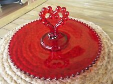 RARE CANDLEWICK RED PASTRY TRAY WITH HEART HANDLE BY IMPERIAL