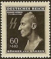 Stamp Germany Bohemia Czech Mi 131 Sc B20 WWII Fascism Reinhard Death Mask MNH