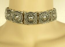 """Vintage Retro Silver Collar Choker Necklace 11.81"""" w/ 2.55"""" Ext. Lobster Claw"""