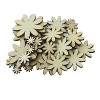 50pcs Unfinished Wooden Shape Flower Embellishments for Crafts Scrapbooking