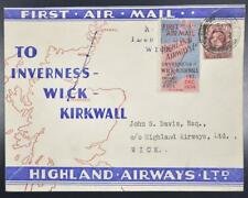 England Scotland 1934 Highland Airways Ltd Stamp/Label o First Flight Cover Look