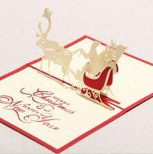 3D Weihnachtskarten Handarbeit Grußkarte Christmas Card Sankt Pferdeschlitten