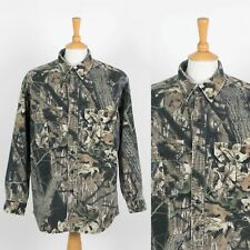 MENS VINTAGE CABELAS FLANNEL SHIRT FOREST CAMOUFLAGE REAL TREE USA HUNTING XL