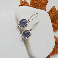 Iolith, blau, oval, schlicht, modern, Ohrringe, Ohrhänger, 925 Sterling Silber
