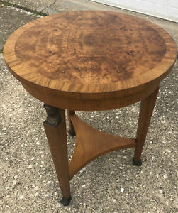 Vintage Baker Furniture Burl Wood Round Table Brass Lady Heads & Paw Feet