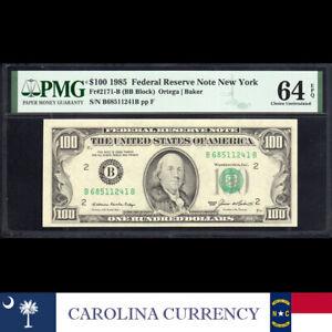 1985 $100 NEW YORK FRN FEDERAL RESERVE NOTE PMG 64 EPQ Fr 2171-B  B68511241B