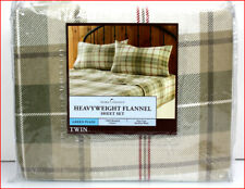 Green Khaki Plaid HEAVY WEIGHT Cotton FLANNEL Sheet Set - EXCELLENT TWIN *NEW*