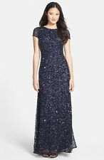 9a2a5e0ab50 ADRIANNA PAPELL Navy Silver Sequin Beaded Embellished Mesh Train Gown Dress  16W