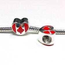 3 Beads- Canada Leaf Flag Heart Silver European Bead Charm E1383