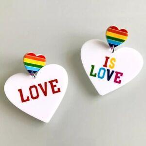Love Is Love Stud Drop HEART RAINBOW Statement Earrings LGBT 🏳️🌈UK SELLER