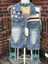 NWT Xiaobei korean fashion American Inspired Distressed Vest With Skull Buttons