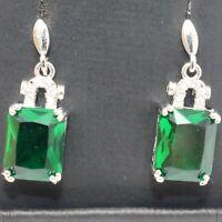 Gorgeous Emerald Cut Green Emerald Earrings Women Jewelry 14K White Gold Plated