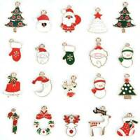 10 Pcs Enamel Alloy Mixed Christmas Charms Pendant Jewelry DIY Crafts Making