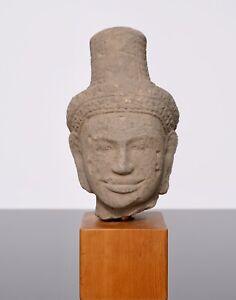 Khmer Sandstone Buddha Shiva Head 11th Century