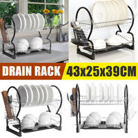 2 Tier Dish Drainer Drying Rack Kitchen Storage Tray Dish Cup Organizer Shelf
