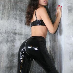 look leggings look pvc not pants not latex rubber fell Women black shiny leather