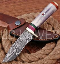 UD HANDMADE FIXED BLADE DAMASCUS ART HUNTER SKINNER KNIF CAMEL BONE HANDLE 10285