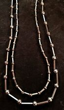 PAIR OF STERLING SILVER BEADED CHAIN NECKLACES