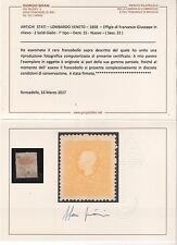 1858 Lombardo Veneto 5 Soldi Giallo I° Tipo Dent.15 MLH certificato Bifani 2017