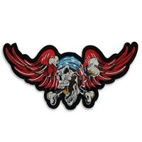 Large 11 inch Skull and Wings Biker patch, Iron on or sew on , shipped from USA