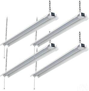 4FT LED Shop Light Linkable 48W Super Bright Fixture Plug Pull Chain 5000K