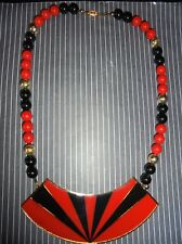 Vintage Beautiful!!1980s Art Deco Large Enamel Chunky Pop Bead Necklace
