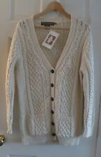 NWT Inis Crafts Aran cable knit Irish sweater M button down cardigan Ireland