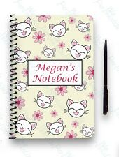 PERSONALISED NOTEBOOK A5 WIRE BOUND GIFT NOTE PAD CAT PATTERN PINK FOR HER